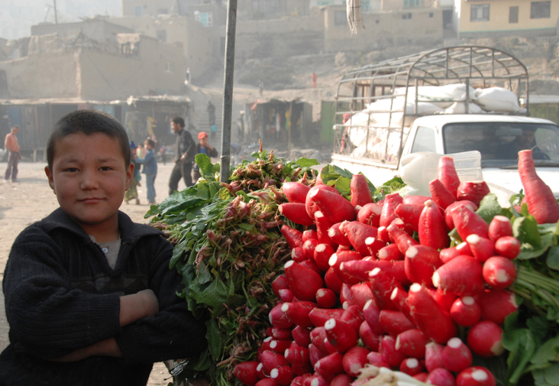 Boy Selling Radishes - Pic Helena Mulkerns