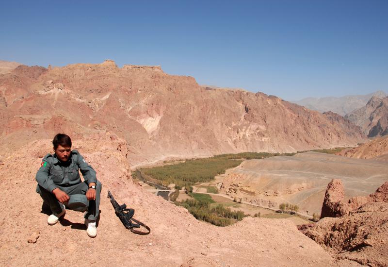 New sneakers Afghan Policeman - Pic Helena Mulkerns
