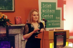 Helena Mulkerns reading from 'Ferenji' at the book launch, 27 October 2016