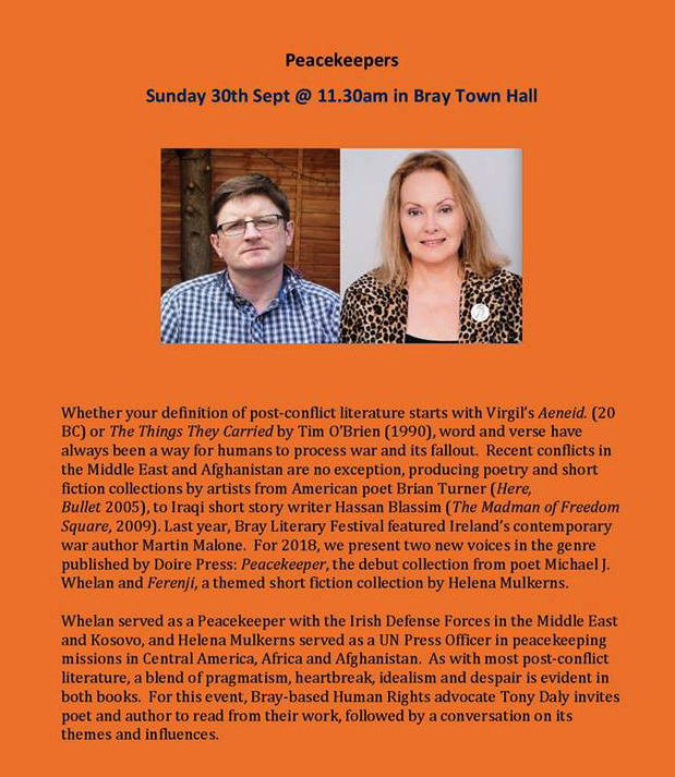 Michael J. Whelan and Helena Mulkerns read at Bray Literary Festival 2018