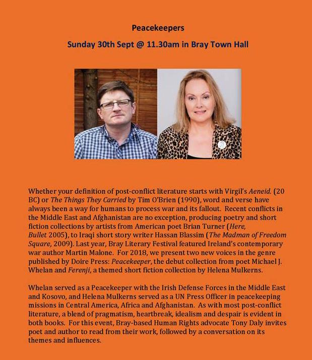 Michael J. Whelan and Helena Mulkerns read at Bray Literary Festival 2018